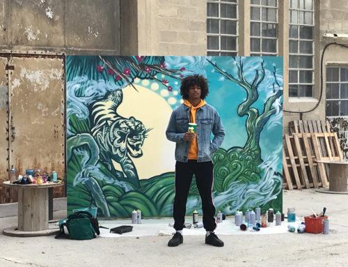 Art urbain : Fresque d'artiste en peinture pour une publicité Subway