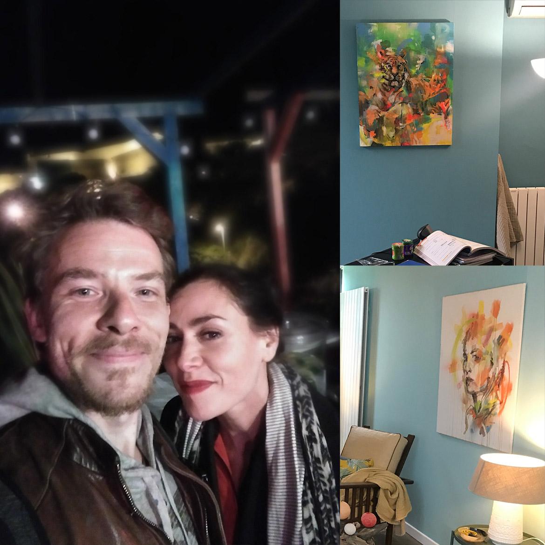 L'artiste Enkage avec la comédienne Olivia Ruiz à la soirée de fin de tournage (selfie)