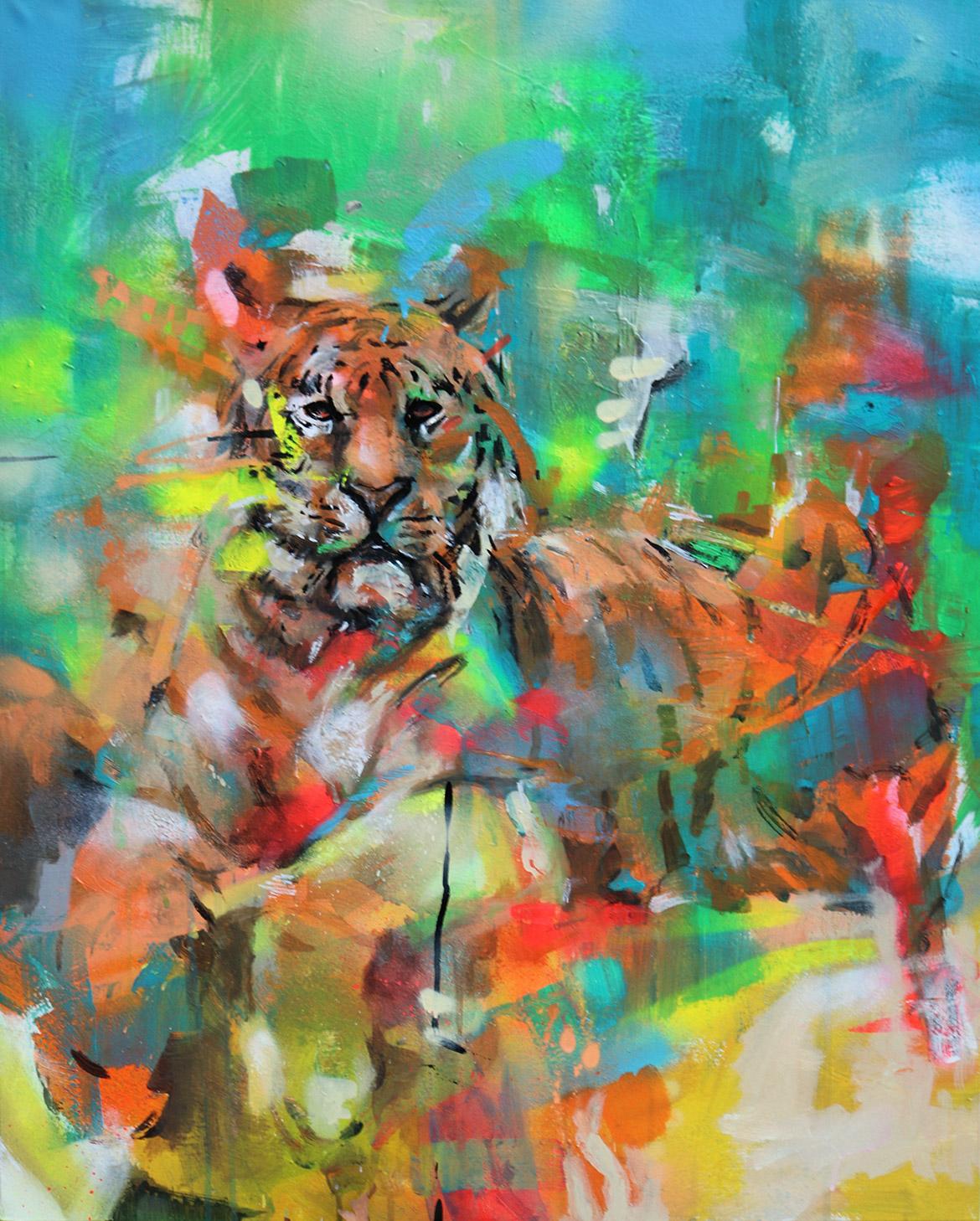 Toile de tigre en location pour un film et réalisée par l'artiste Enkage