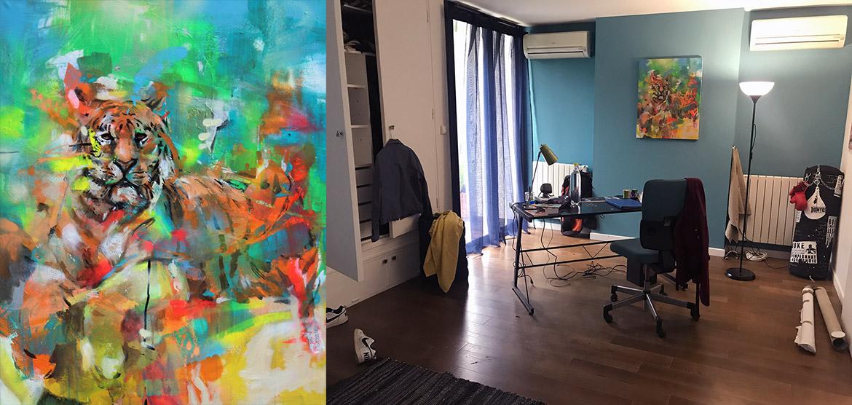 Location de toile pour un décor de cinéma par l'artiste Enkage
