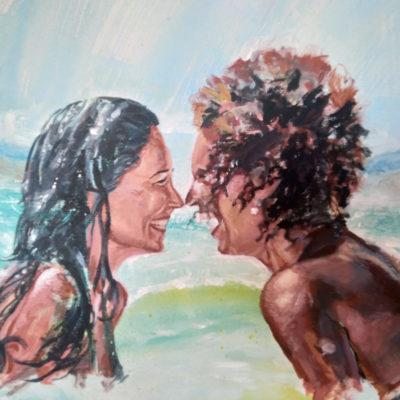 Commande en peinture : portait couple complice par Enkage