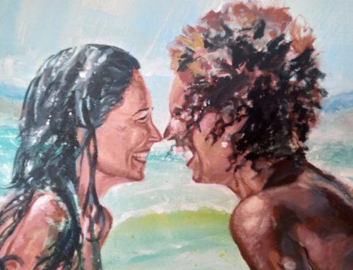 Idée cadeau en peinture : portrait de couple complice