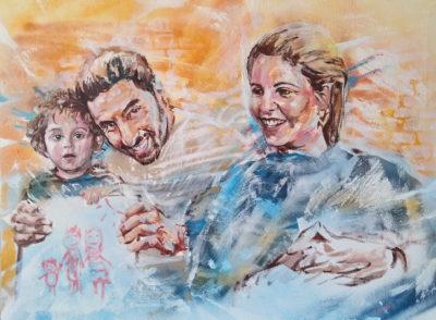 Peinture: commande d'une famille réalisée en peinture acrylique et aérosol - portrait par Enkage