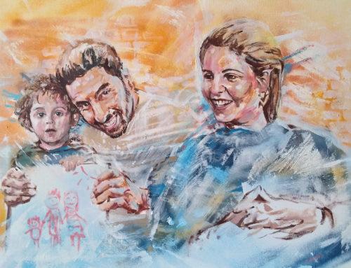 Portrait d'une famille en peinture acrylique et bombe aérosol – commande de toile