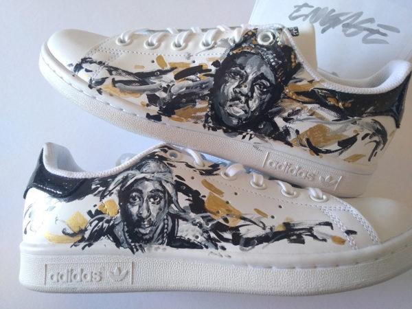 Peinture custom sneakers par l'artiste Enkage : 2pac notorious BIG