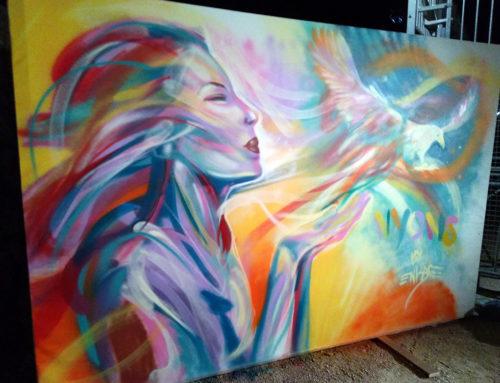 Fresque graffiti en live painting dans la drôme