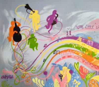 Fresque en peinture graffiti à l'école primaire de la Valbarelle à Marseille