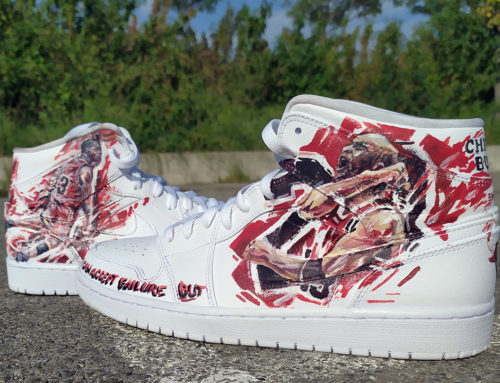 Peinture sneakers de collection avec Jordan star du basket