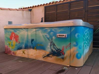 Décoration graffiti spa et Mer sur Marseille