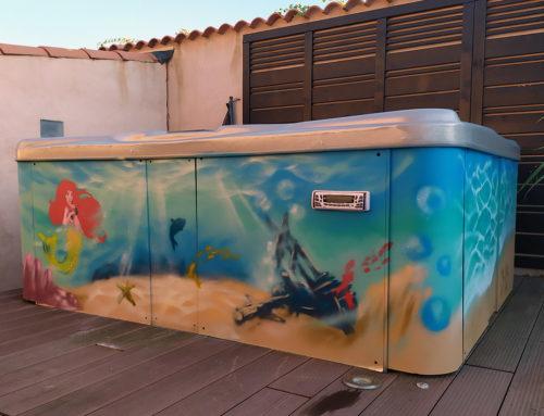 Décoration graffiti à Marseille : mer et spa