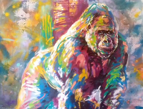 Street art animal série : gorille en liberté!