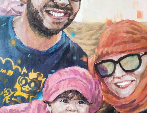 Portrait par un peintre sur commande d'une famille