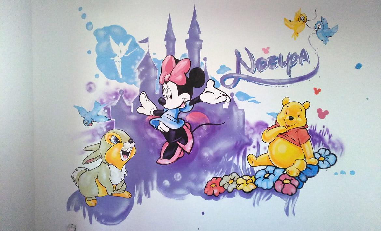 Peinture murale pour enfant - chambre Mickey et Minnie par Enkage