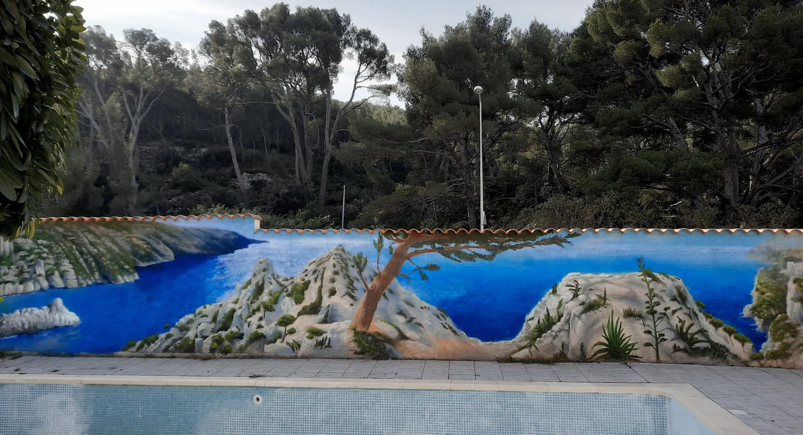 Calanque de Marseille : fresque murale peinture extérieur graffiti par Enkage