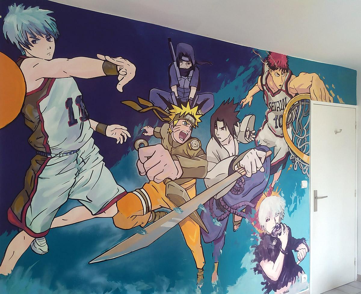 Peinture fresque chambre d'enfant manga Kuroko par l'artiste Enkage