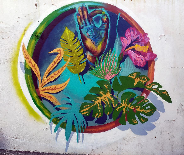 Fresque décoration végétale plante art deco artiste Enkage