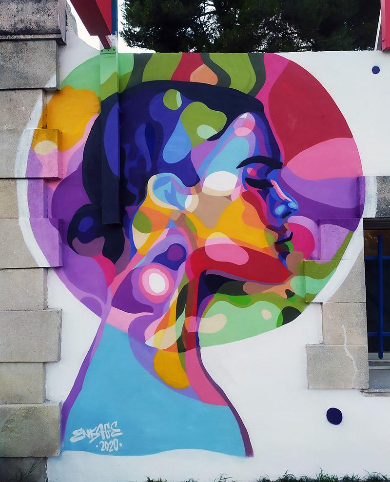 Fresque murale artiste street art Enkage Venelles