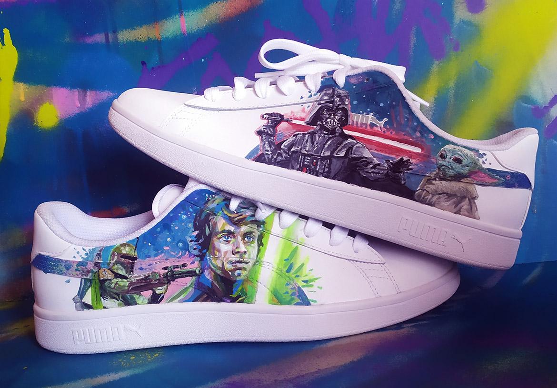 Customisation de vos sneakers en peinture par l'artiste Enkage
