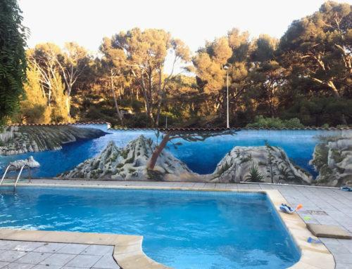 Artiste peinture graffeur mur piscine décoration paysage Marseille