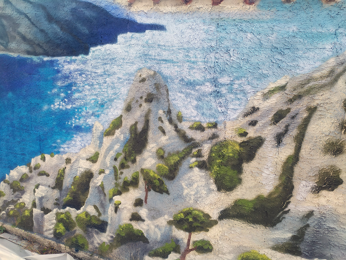 Peinture d'un graffeur en décoration et street art : Calanque et paysage de Marseille par Enkage