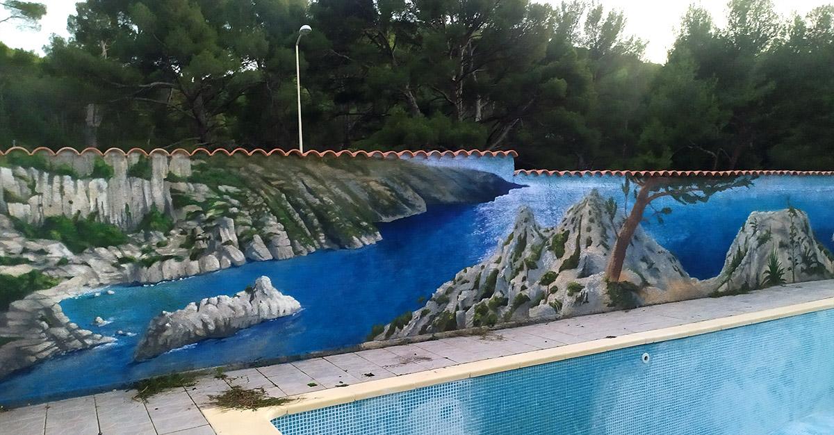 Artiste peinture graffeur mur piscine décoration paysage Marseille - Par Enkage