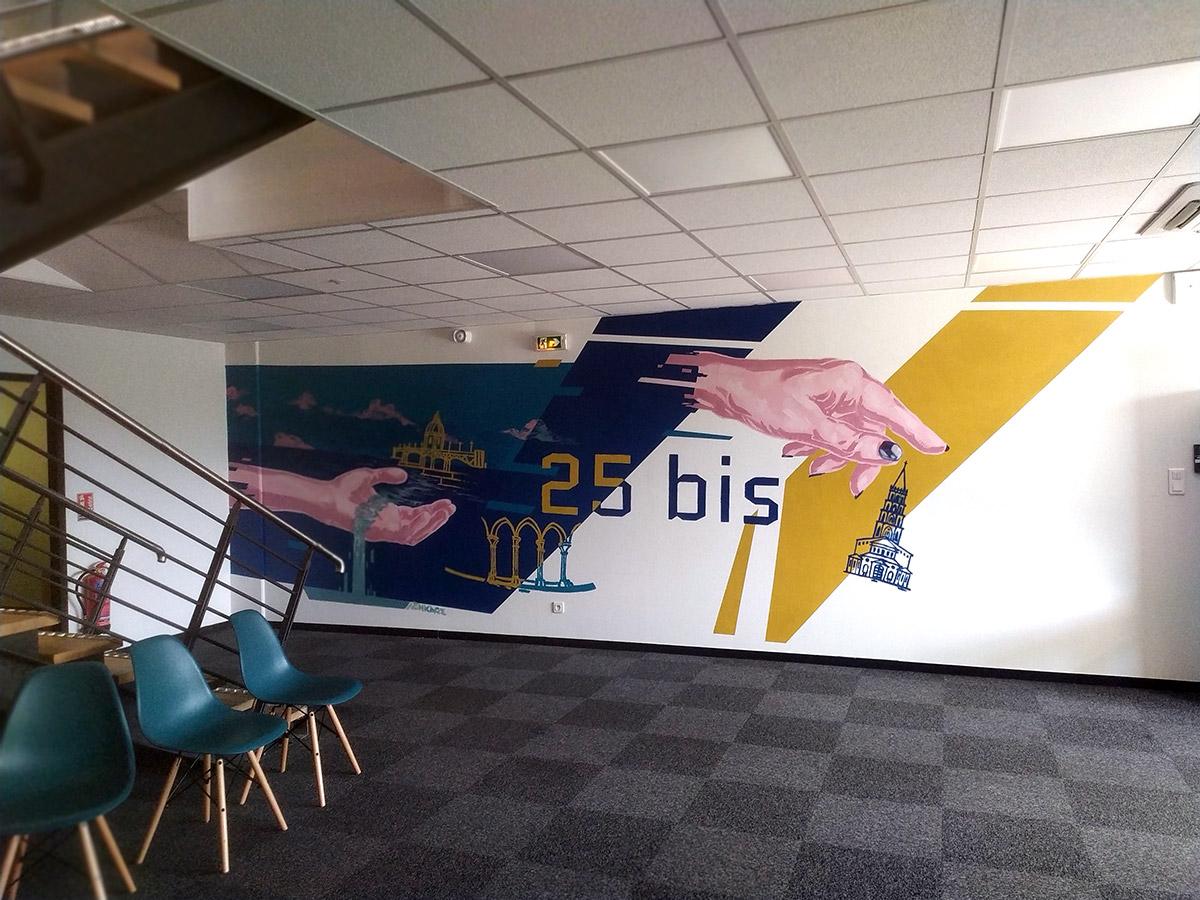 Décoration fresque murale peinture en intérieur: Entreprise Comptable sur Toulouse par Enkage