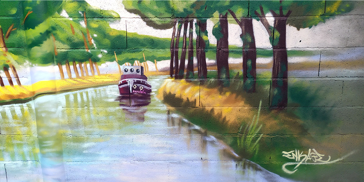 Graffeur décoration mur jardin peinture canal du midi Toulouse par Enkage