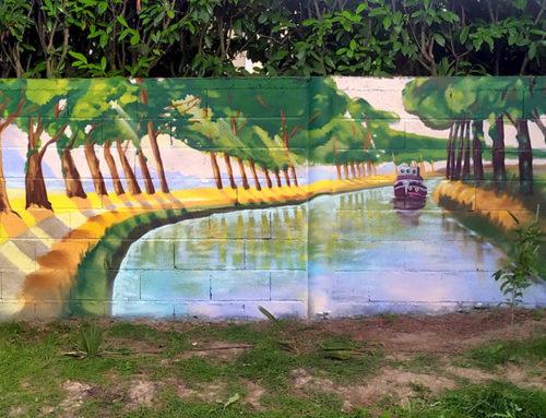 Graffeur décoration mur jardin peinture canal du midi Toulouse
