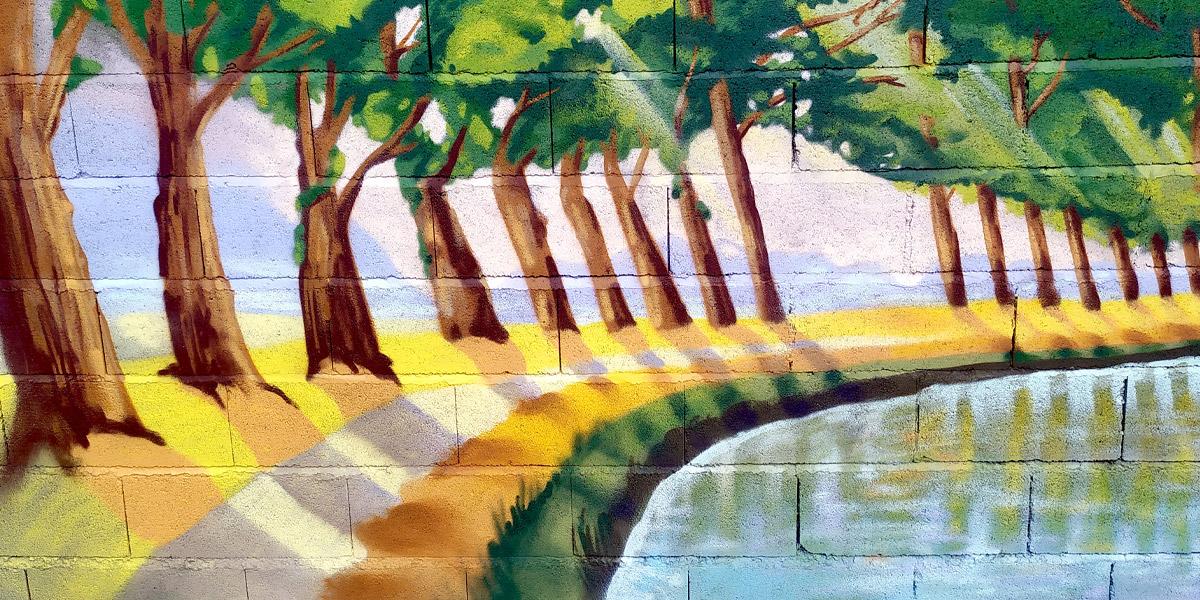 Détail de la fresque décoration d'un mur de jardin en peinture sur le canal du midi Toulouse par Enkage