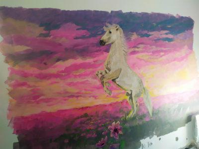 Chambre enfant peinture - Idée animaux avec un cheval