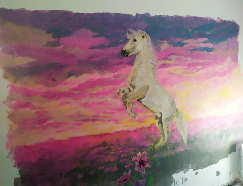 Chambre enfant peinture – Idée animaux avec un cheval