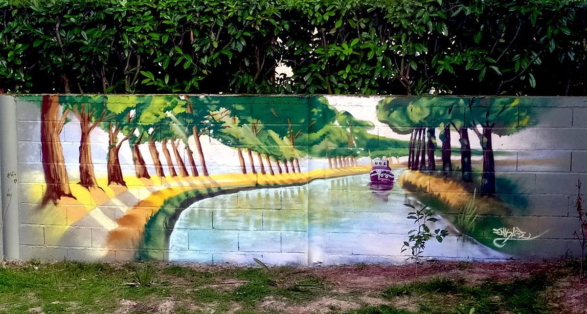 Fresque street art et graffiti par Enkage sur le canal du Midi à Toulouse