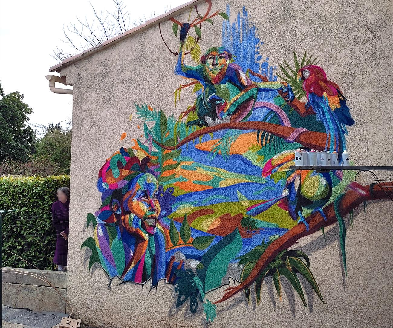 Fresque street art France en extérieur - Peinture près d'Aix en Provence par Enkage