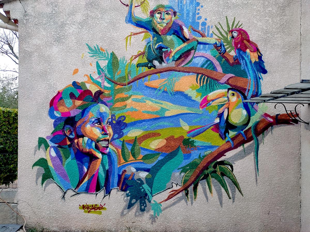 Fresque street art France Festival animaux portrait par Enkage