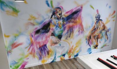 Décoration peinture pour un particulier: matériel Liquitex en graffiti et Neoacryl par l'artiste Enkage